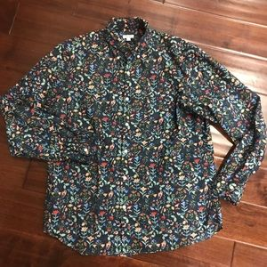 Steven Alan bird floral button up